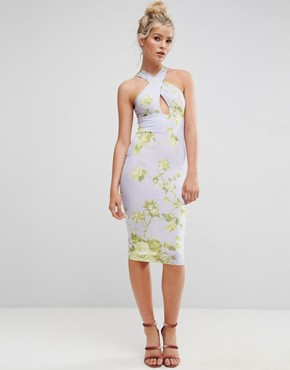 photo Floral Cross Front Midi Bodycon Dress by ASOS, color Multi - Image 1