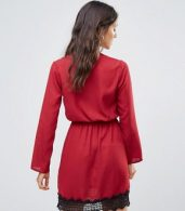 photo Wrap Dress with Lace Trim by Rage, color Red - Image 2