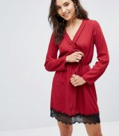photo Wrap Dress with Lace Trim by Rage, color Red - Image 1