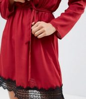 photo Wrap Dress with Lace Trim by Rage, color Red - Image 3