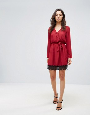 photo Wrap Dress with Lace Trim by Rage, color Red - Image 4