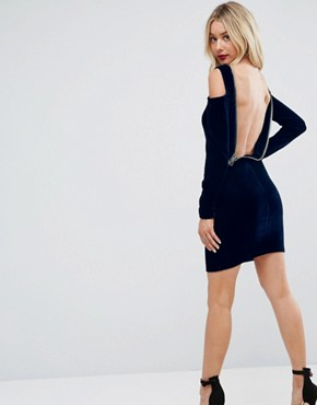 photo Velvet Open Zip Back Bodycon Mini Dress by ASOS, color Navy - Image 1