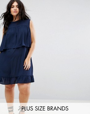 photo Frilled Layer Dress by Rage Plus, color Navy Crepe - Image 1