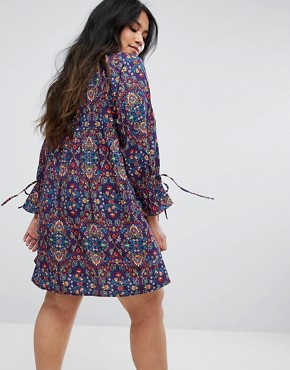 photo Tied Cuff Floral Smock Dress by Rage Plus, color Print - Image 2