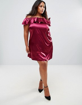 photo One Shoulder Dress with Bow Detail by Rage Plus, color Plum - Image 4