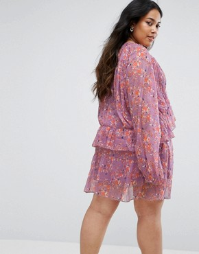 photo V-Neck Frilled Floral Dress by Rage Plus, color Print - Image 2