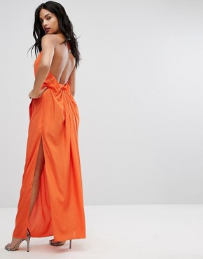 photo Maxi Dress with Ruched Detail and Belt by AQ/AQ, color Orange - Image 2