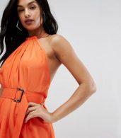 photo Maxi Dress with Ruched Detail and Belt by AQ/AQ, color Orange - Image 3