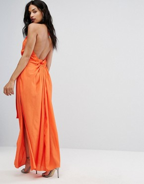photo Maxi Dress with Ruched Detail and Belt by AQ/AQ, color Orange - Image 4