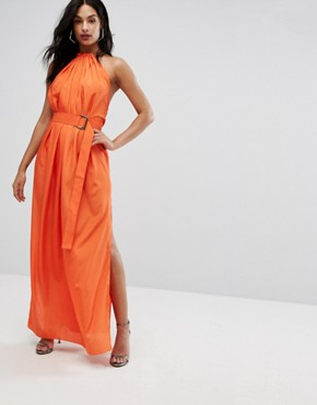 photo Maxi Dress with Ruched Detail and Belt by AQ/AQ, color Orange - Image 1