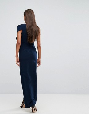 photo Structured Maxi Dress with Shoulder Detail by AQ/AQ, color Eclipse Navy - Image 2