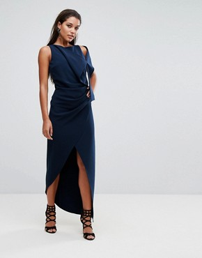 photo Structured Maxi Dress with Shoulder Detail by AQ/AQ, color Eclipse Navy - Image 1