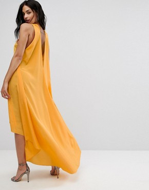 photo Halterneck Maxi Dress with Hardware Detail by AQ/AQ, color Saffron - Image 2
