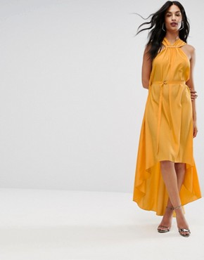 photo Halterneck Maxi Dress with Hardware Detail by AQ/AQ, color Saffron - Image 1