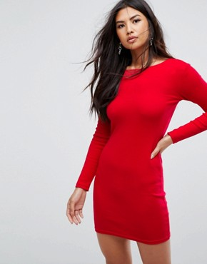 photo Ribbed Backless Ring Zip Midi Dress by Missguided, color Red - Image 2