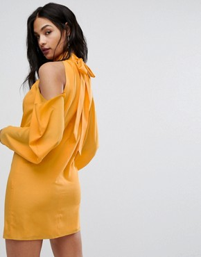 photo Mini Dress with Cold Shoulder Ruched Detail by AQ/AQ, color Saffron - Image 2