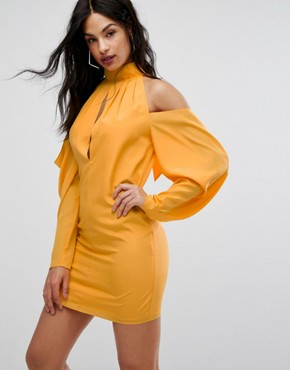 photo Mini Dress with Cold Shoulder Ruched Detail by AQ/AQ, color Saffron - Image 1