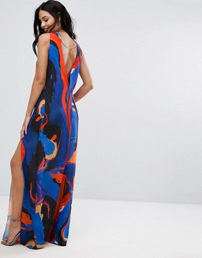 photo Halterneck Maxi Dress in Print with Hardware Detail by AQ/AQ, color Azine Print - Image 2