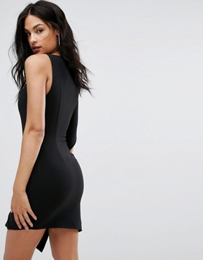 photo Mini Dress with Sculpted Frill by AQ/AQ, color Black - Image 2