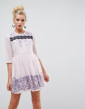 photo Eyelash Lace Mini Dress with Embroidery by ASOS PREMIUM, color Lilac - Image 1