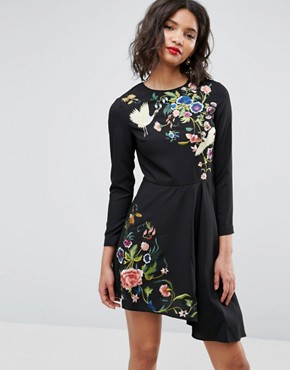 photo Pretty Embroidered Skater Dress by ASOS, color Black - Image 1