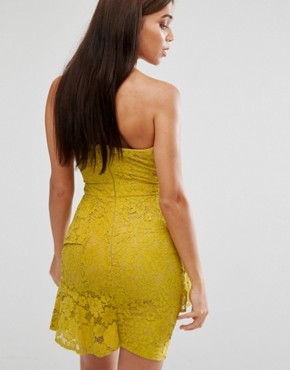 photo Lace Bandeau Midi Dress by Missguided, color Yellow - Image 2