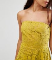 photo Lace Bandeau Midi Dress by Missguided, color Yellow - Image 3