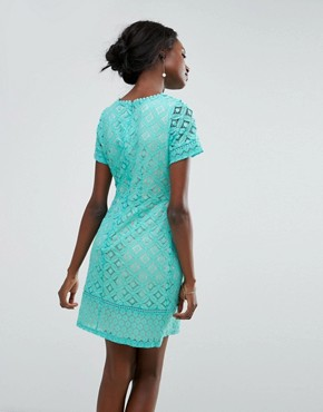 photo Cutwork Lace Detail Shift Dress by Oasis, color Blue - Image 2