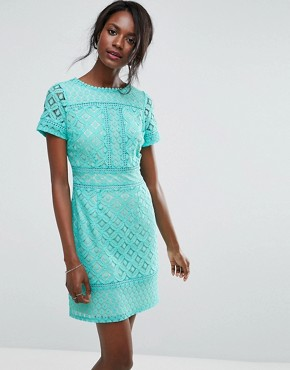 photo Cutwork Lace Detail Shift Dress by Oasis, color Blue - Image 1