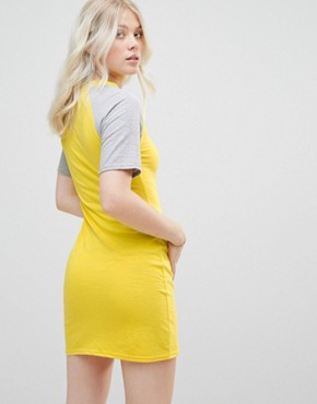 photo Mini Dress with Contrast Sleeves by Daisy Street, color Yellow/Grey - Image 2