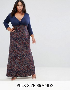 photo Printed Wrap Maxi Dress with 3/4 Sleeves by Club L Plus, color Black - Image 1