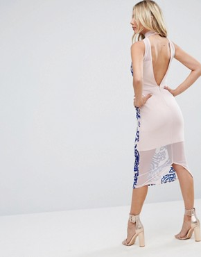 photo All Over Flocked Bodycon Midi Dress by ASOS, color Nude - Image 2
