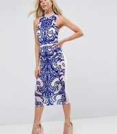 photo All Over Flocked Bodycon Midi Dress by ASOS, color Nude - Image 1