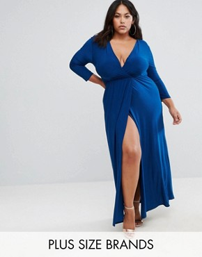 photo Wrap Slinky Maxi Dress with Long Sleeve by Club L Plus, color Petrol Blue - Image 1