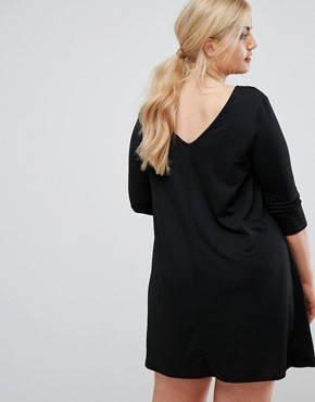 photo Oversize Crepe Swing Dress by Club L Plus, color Black - Image 2