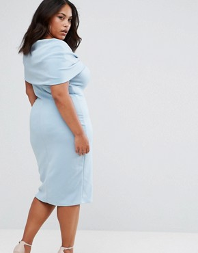 photo Bardot Bow Detail Midi Dress by Club L Plus, color Powder Blue - Image 2