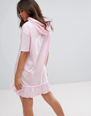 photo Hoody Dress with Frill Hem by Daisy Street Tall, color Pink - Image 2