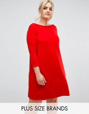 photo Oversize Crepe Swing Dress by Club L Plus, color Rust - Image 1