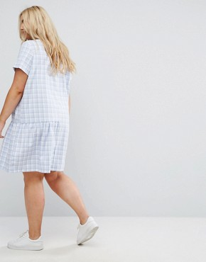 photo Check Dress with Half Frill Hem by Daisy Street Plus, color Blue Check - Image 2
