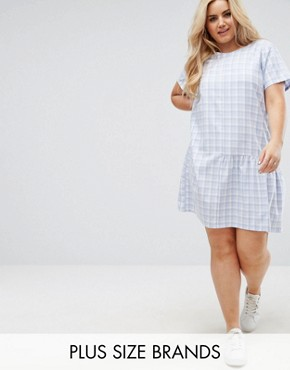 photo Check Dress with Half Frill Hem by Daisy Street Plus, color Blue Check - Image 1