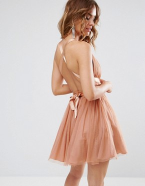 photo Tulle Mini Prom Dress with Ribbon Ties by ASOS PREMIUM, color Peach - Image 2