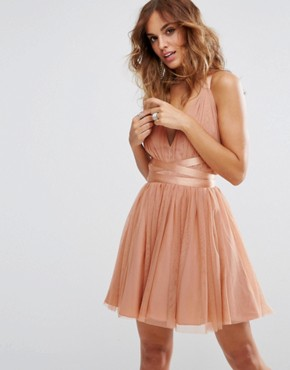 photo Tulle Mini Prom Dress with Ribbon Ties by ASOS PREMIUM, color Peach - Image 1