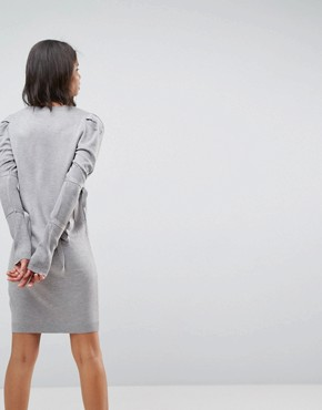 photo Knitted Dress with Puff Shoulder by ASOS, color Grey - Image 2