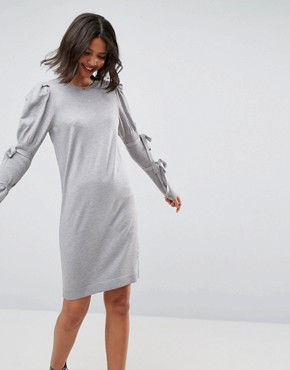 photo Knitted Dress with Puff Shoulder by ASOS, color Grey - Image 1