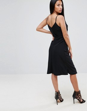 photo Hook & Eye Detail Slip Dress by ASOS PETITE, color Black - Image 2
