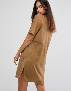 photo Polin Suede Shirt Dress by Selected, color Croissant - Image 2