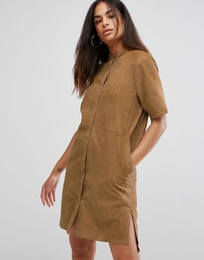 photo Polin Suede Shirt Dress by Selected, color Croissant - Image 1