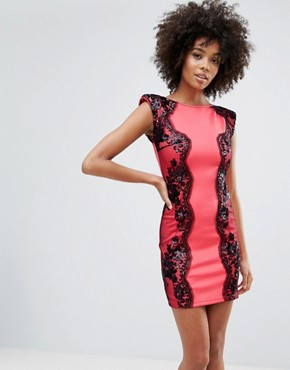 photo Panel Bodycon Dress by Little Mistress, color Coral - Image 1