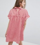 photo High Neck Smock Dress in Summer Gingham by Willow and Paige, color Red - Image 2