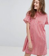 photo High Neck Smock Dress in Summer Gingham by Willow and Paige, color Red - Image 1